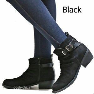 New Black Vegan Suede Western Ankle Boots Booties